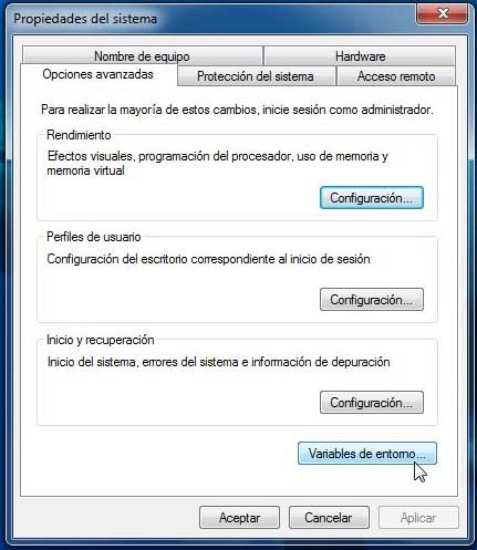 Windows 7 variables de entorno