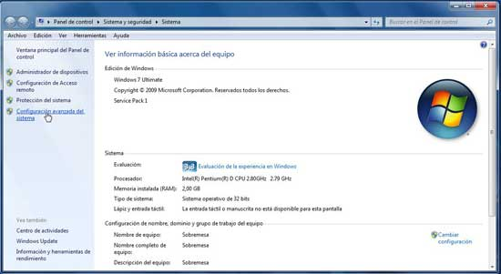 Windows 7 configuración avanzada del sistema