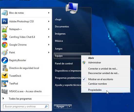 Windows 7, Eequipo - propiedades