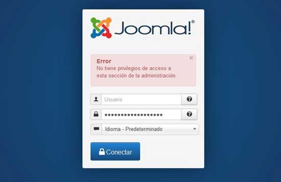 acceso negado (login) en la administración de Joomla