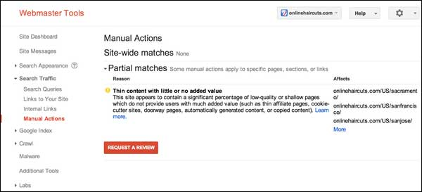 Aviso de acción manual anti spam de Google