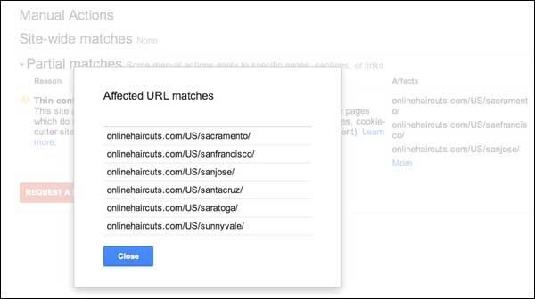 Aviso de acción manual anti spam de Google, información