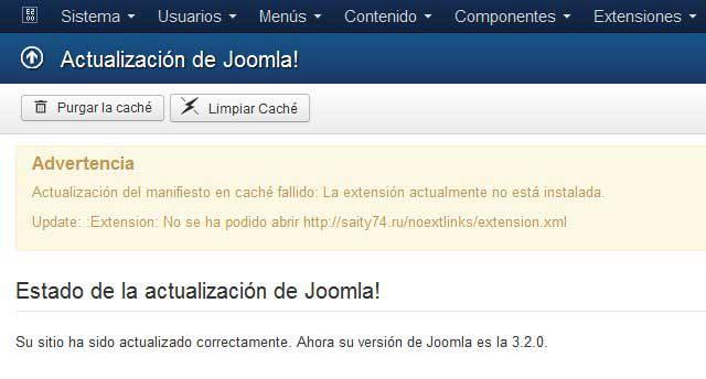 error en la actualización a Joomla 3.2