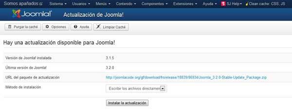 aviso de actualización a Joomla 3.2