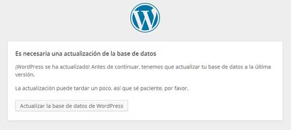actualizar base de datos de WorPress