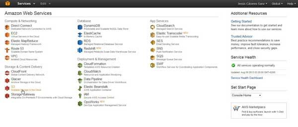 Amazon aws Consola - servicios