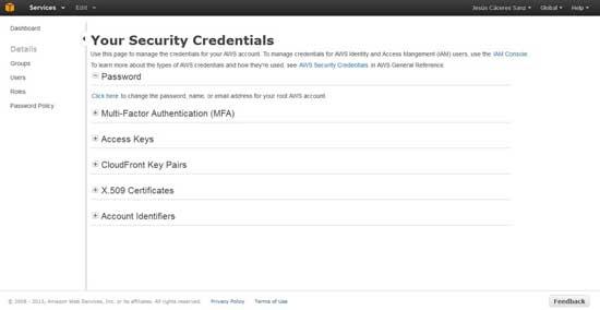 Amazon s3 aws managenet console - credenciales de seguridad