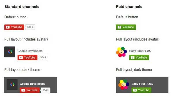 botones de suscripción para YouTube