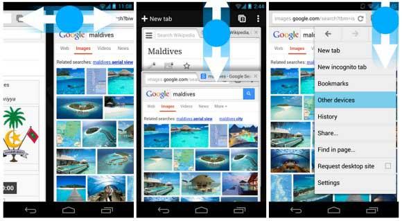 nuevos gestos en Chrome Beta para Android