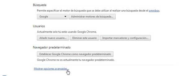 Chrome, configuración - opciones avanzadas