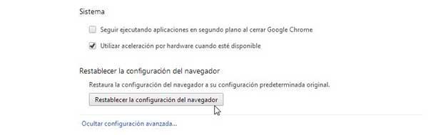 Chrome, configuración - Restablecer la configuración del navegador