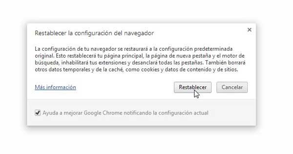 Chrome, Restablecer la configuración del navegador