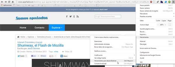 Chrome, Herramientas para desarrolladores