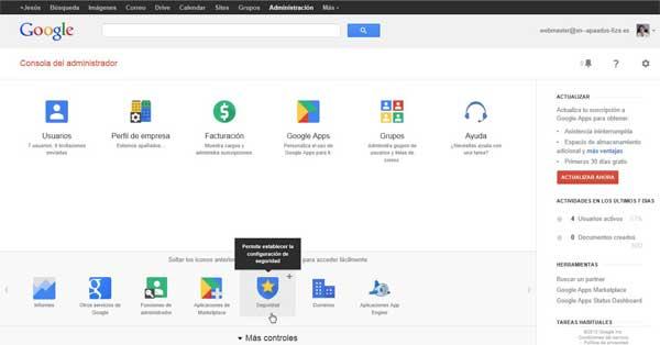 Consola de administración de Google Apps - más controles seguridad