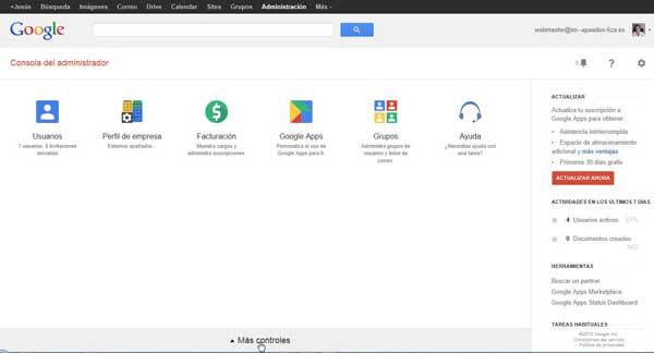 Consola de administración de Google Apps - más controles