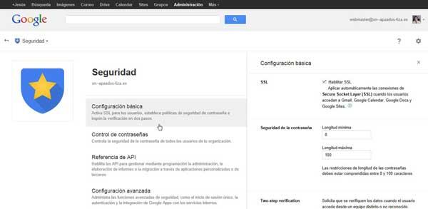 Consola de administración de Google Apps - seguridad configuración básica