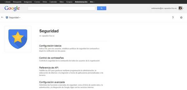 Consola de administración de Google Apps - seguridad