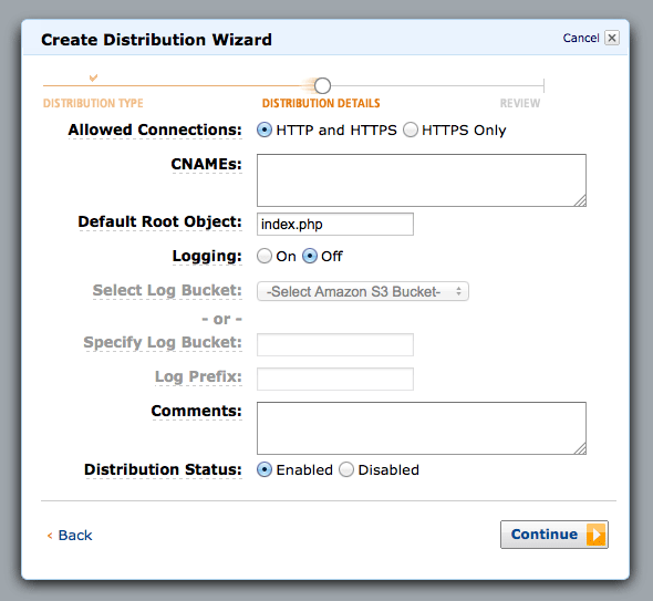 CloudFront default root object