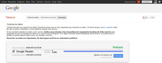 Exportar Google Reaer desde Google Takeout
