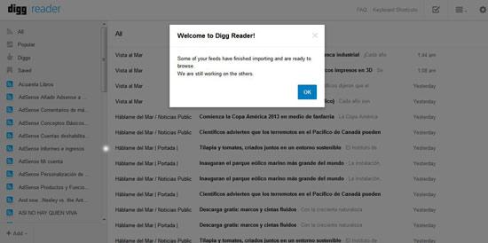 Digg Reader, bienvenida