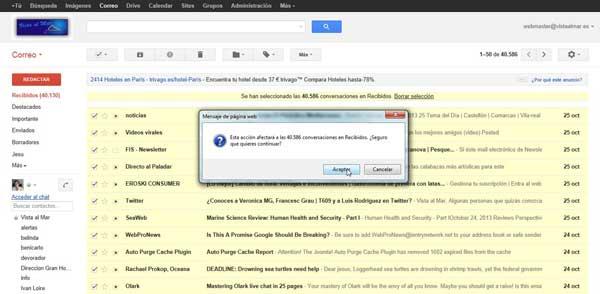 Gmail marcar todos los mensajes como leídos, aceptar