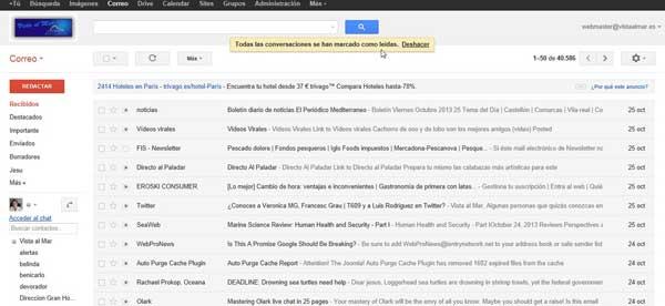 Gmail todas las conversaciones leidas