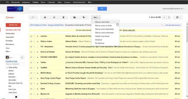 Gmail marcar todos los mensajes como leídos