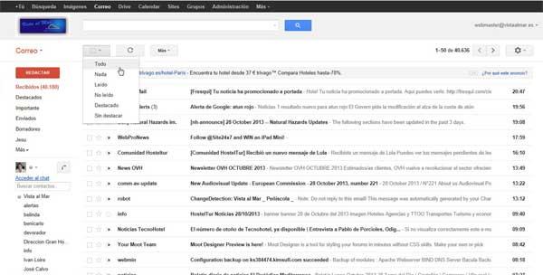 Gmail seleccionar todos los mensajes