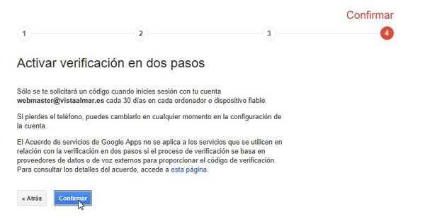 Cuentas de Google - activar verificación en dos pasos, confirmar