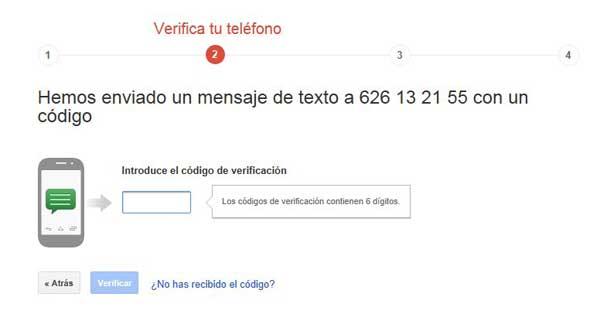 Cuentas de Google - activar verificación en dos pasos, código SMS