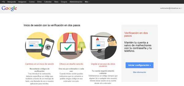 Cuentas de Google - activar verificación en dos pasos, iniciar