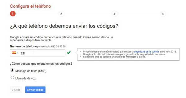 Cuentas de Google - activar verificación en dos pasos, teléfono