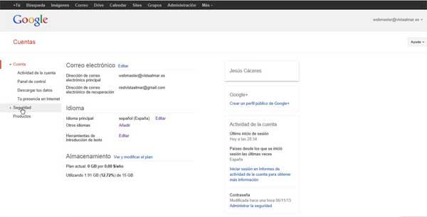 Cuentas de Google - seguridad