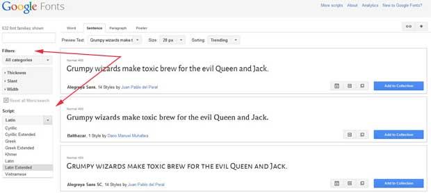google fonts filtro de búsquedas