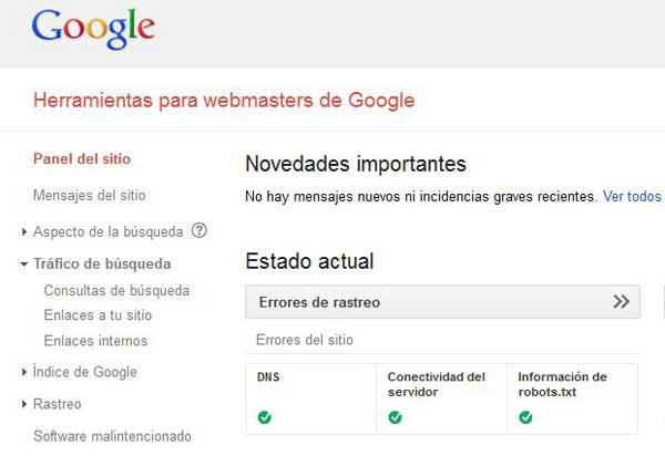 Herramientas webmaster, tráfico de búsqueda