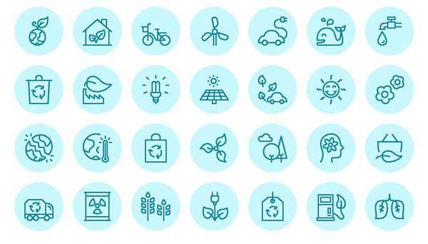 Iconos ecológicos vectoriales gratis