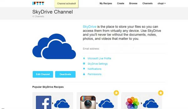 IFTTT, canal Skydrive activado