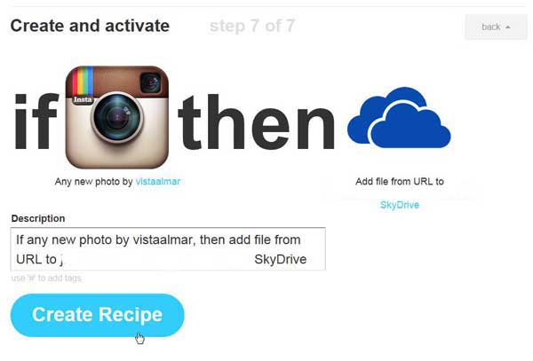 IFTTT, crear recipe