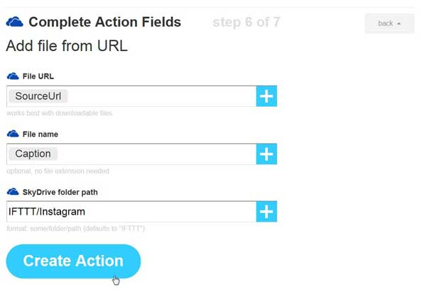IFTTT, create action