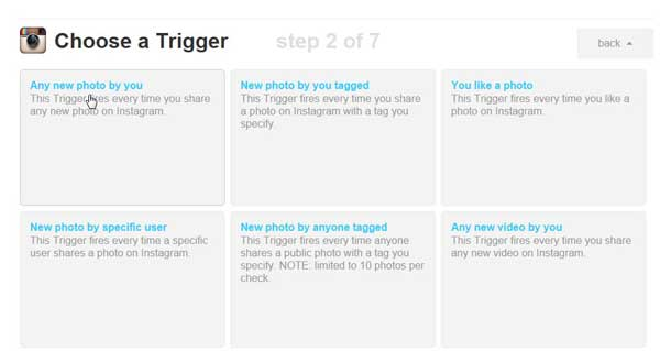 IFTTT, escoger Trigger