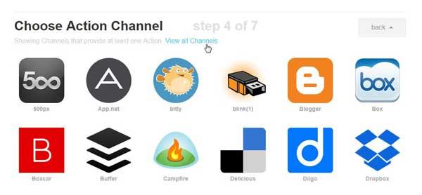 IFTTT, ver todos los canales
