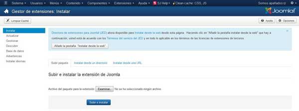 Joomla 3.2 nuevo gestor extensiones con un clic