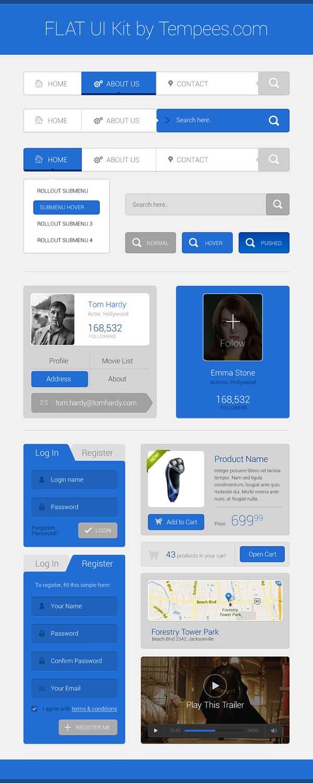 kit de interfaz usuario gratis para diseñadores plano