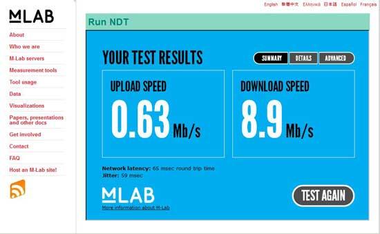 test de velocidad con NTD
