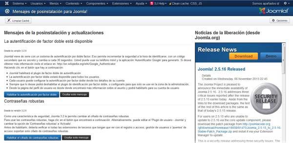 nuevo panel de administración en Joomla 3.2, mensajes postinstalación