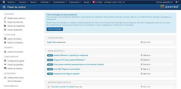 nuevo panel de administración en Joomla 3.2