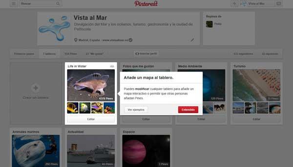 Pinterest, Pines de lugar, añadir mapa