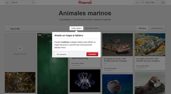 Pinterest, Pines de lugar, editar tablero