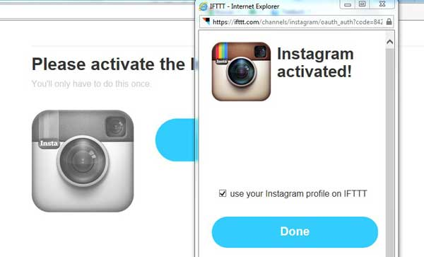 receta IFTTT, activar canal Instagram, autorizado