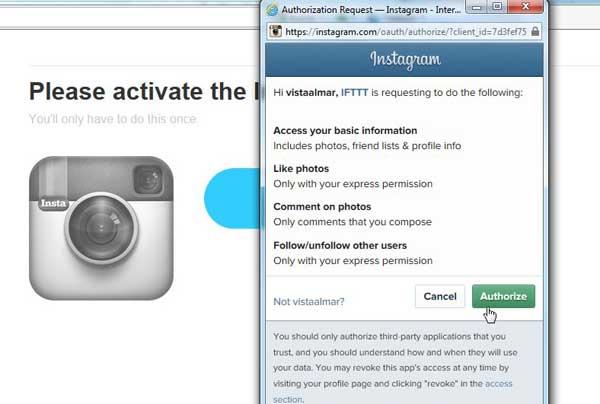 receta IFTTT, activar canal Instagram, autorizar